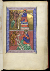 Second and Third Temptations of Christ, in a Psalter